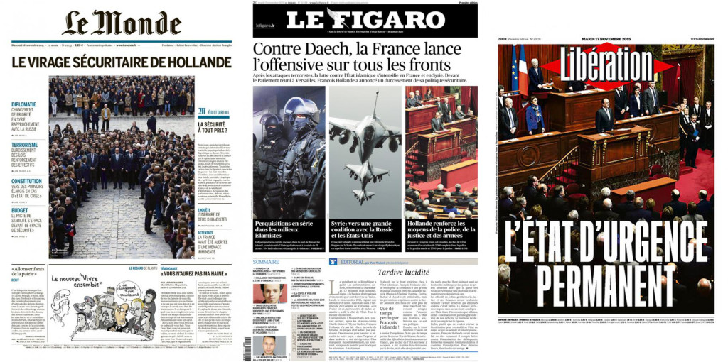 Unes du mardi 17 novembre. La Tour Eiffel, un des symboles de paix post-attentats, désormais sous garde militaire. Les avions de Dassault à l'assaut des djihadistes, et Hollande raide comme la… vengeance.