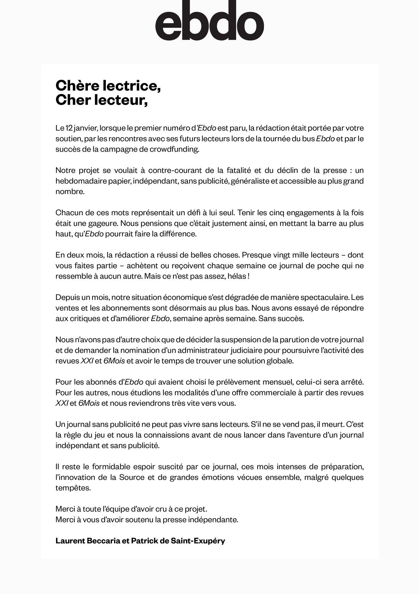 ebdo, 23 mars 2018, lettre annonçant la fin du titre